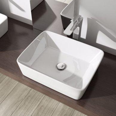 Umywalka nablatowa naszafkowa biała ceramiczna