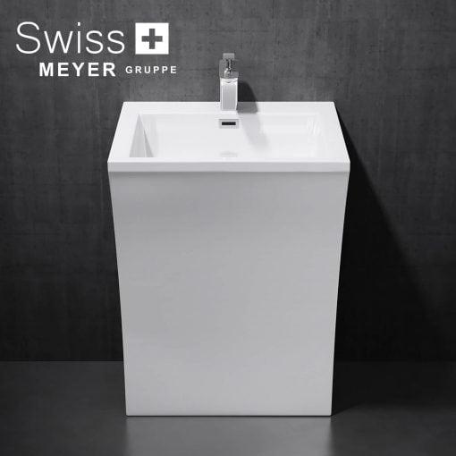 Umywalka wolnostojąca prostokątna z konglomeratu
