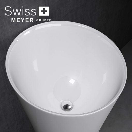 okrągła umywalka wolnostojąca z konglomeratu lany marmur