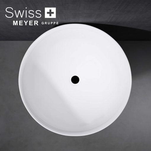 okrągła umywalka stojąca z konglomeratu lany marmur