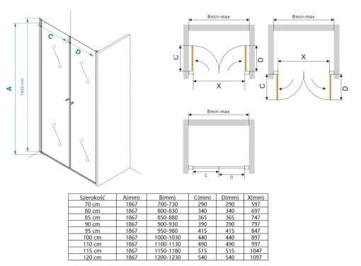 Drzwi prysznicowe podwójne MSD800
