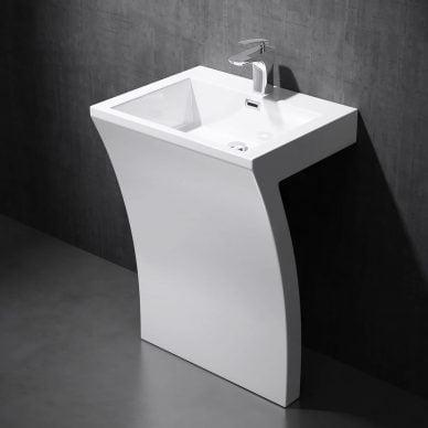 Umywalka wolnostojąca z konglomeratu prostokątna